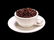 Kop koffiebonen stock afbeeldingen
