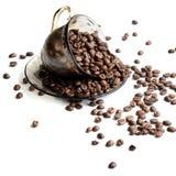Kop koffiebonen - voorraadfoto royalty-vrije stock afbeelding