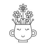 Kop met bloemen Kleurende pagina Stock Foto