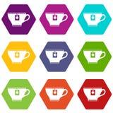 Kop met de vastgestelde kleur van het theezakjepictogram hexahedron Stock Foto's