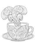 Kop met kofem, thee en stoom vectorillustratie stock illustratie