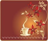 Kop met koffie en bloemen. Spatie voor kaart stock illustratie
