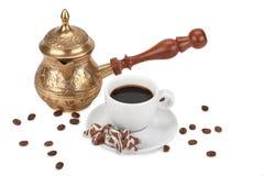 Kop met koffie en koffiekan Royalty-vrije Stock Afbeelding