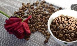 Kop met koffiebonen De ochtendkoffie en rode droog namen toe royalty-vrije stock foto