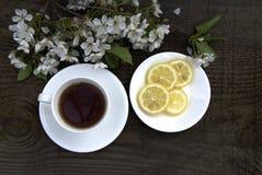 Kop thee, citroen en witte bloemen Royalty-vrije Stock Afbeeldingen