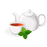 Kop thee een theepot met munt stock fotografie