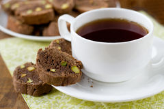 Kop thee en biscotti. royalty-vrije stock foto's