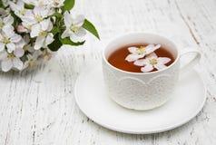 Kop thee en de lentebloesem Stock Fotografie
