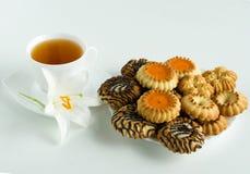 Kop thee en koekjes Stock Afbeeldingen