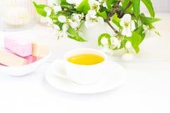 Kop thee en pastila royalty-vrije stock foto
