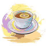 Kop thee met citroen Stock Afbeelding