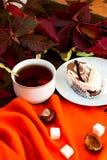 Kop thee met de herfstbladeren van wilde druiven Stock Afbeeldingen