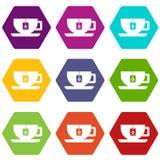 Kop thee met de vastgestelde kleur van het theezakjepictogram hexahedron Royalty-vrije Stock Foto