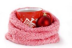 Kop thee met de winterornament Royalty-vrije Stock Fotografie