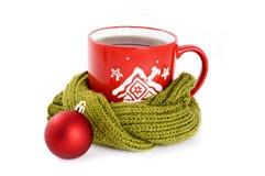 Kop thee met de winterornament Stock Fotografie
