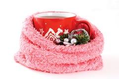 Kop thee met de winterornament Royalty-vrije Stock Afbeelding