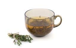 Kop thee met een bundel van kruiden Royalty-vrije Stock Afbeeldingen