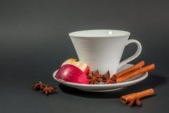 Kop thee met kaneel, anijsplant en appel Stock Foto