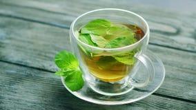 Kop thee met Munt stock videobeelden