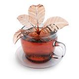 Kop thee met plons in een vorm van bladeren Stock Foto