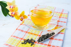 Kop thee op geruit servet Royalty-vrije Stock Foto