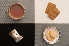 Kop thee op zwart-wit, candys en de koekjes Klassieke strikte stijl royalty-vrije stock fotografie