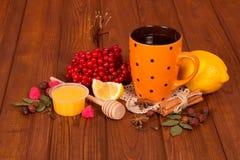Kop thee van de bessen van viburnum met honing, citroen en kruiden op houten lijst Stock Foto