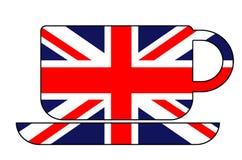 Kop theevorm met Britse vlag wordt gevuld die Royalty-vrije Stock Foto