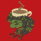 Kop van cacao en een sjaal stock illustratie