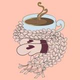 Kop van cacao en roze sjaal stock illustratie