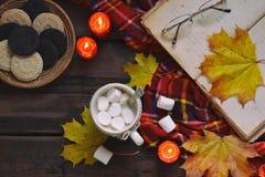 Kop van cacao met heemst, chocoladekoekje en pindakoekje, boek, deken De herfstontspanning, de seizoengebonden levensstijl van he Stock Afbeeldingen