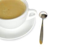 kop van coffe en lepel Royalty-vrije Stock Fotografie