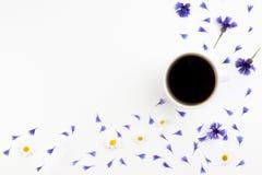 Kop van coffe met korenbloemen en kamille op witte achtergrond Vlak leg, hoogste mening Royalty-vrije Stock Afbeeldingen