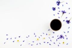 Kop van coffe met korenbloemen en kamille op witte achtergrond Vlak leg, hoogste mening Stock Afbeeldingen