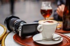 Kop van coffe op de lijst Stock Foto