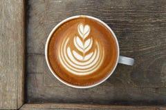 Kop van de koffie van de lattekunst Stock Foto
