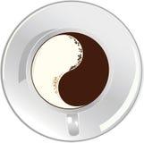 Kop van een yin yan koffie Stock Afbeelding