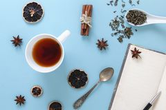 Kop van gebrouwen groene thee, met geopende lege notitieboekje en pen, op blauwe achtergrond met relevante voorwerpen royalty-vrije stock afbeeldingen