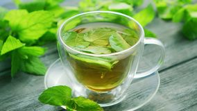 Kop van groene thee met munt en citroen stock video