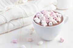 Kop van hete chocolade met heemst Stock Foto