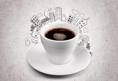 Kop van hete koffie op de achtergrond van de stadsillustratie Stock Afbeeldingen