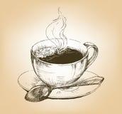 Kop van hete koffie op schotel Stock Afbeelding