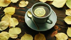 Kop van hete thee met citroen stock footage