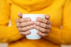 Kop van hete thee in uw handen Drankconcept, levensstijl, autum Stock Foto's