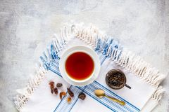 Kop van hete zwarte thee royalty-vrije stock afbeeldingen