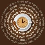 Kop van klok in cappuccino stock illustratie