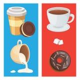 Kop van koffie, cappuccino, latte en chocoladevoedsel Zoete woestijnentijd royalty-vrije illustratie