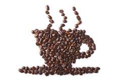 Kop van koffie die van koffiebonen wordt gemaakt Stock Foto