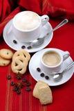 Kop van koffie en cappuccino Royalty-vrije Stock Fotografie