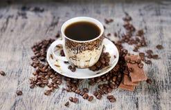 Kop van koffie en chocolade Stock Fotografie